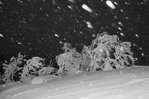 Lappiin turputtaa merkittävästi lunta illan ja yön aikana.