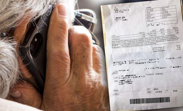 Aino Turtiainen-Visalan äidille toimitettiin 34,90 euron lasku hamppuöljytilauksesta, jota tämä itse ei muista tehneensä.