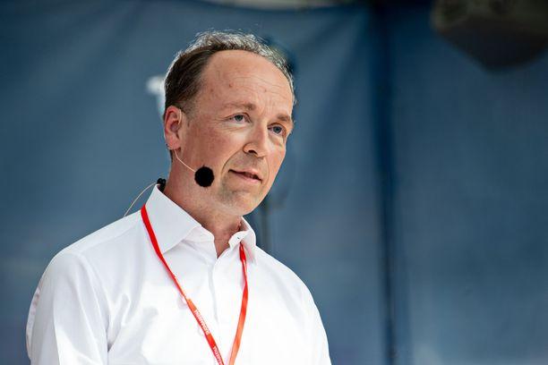 Jussi Halla-aho Porin Suomi-areenalla viime heinäkuussa.