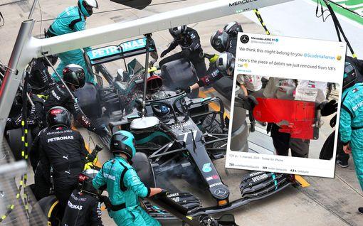"""Tämä pala saattoi tuhota Valtteri Bottaksen kisan – Mersu julkaisi paljonpuhuvan kuvan: """"Ferrari, luulemme tämän kuuluvan teille"""""""