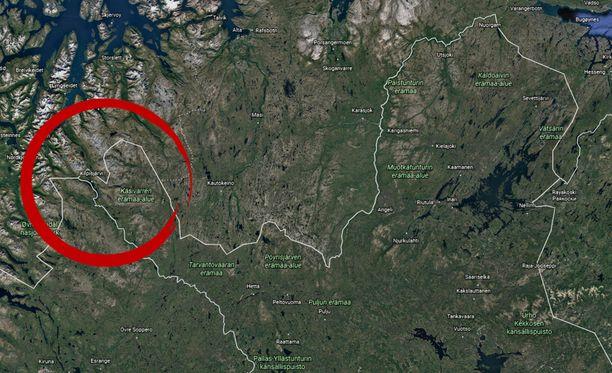 Putoamispaikka on lähellä Suomen, Norjan ja Ruotsin raja-aluetta.