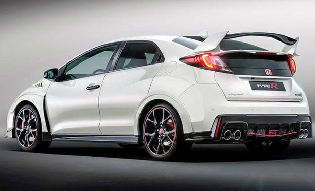 Honda Civic R GT:n tunnistaa punaisista raidoista spoilereissa.