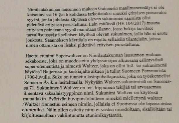 Näin Viroselle perusteltiin, miksei Superwaltzeria tai Waltzeria saa nimekseen.