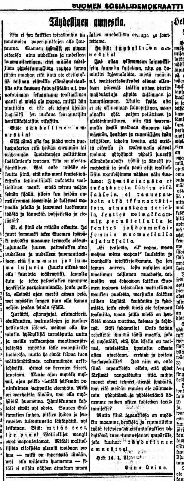 """Leinon odottamaton avaus julkaistiin Suomen Sosialidemokraatissa 15.1.1921 otsikolla """"Yleinen amnestia""""."""