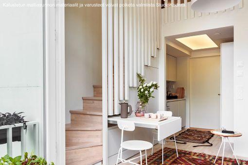Pienessä asunnossa on kaikki, mitä kodilta vaaditaan eli keittiö, wc-suihkutilat, nukkumispaikka ja oleskelutila.