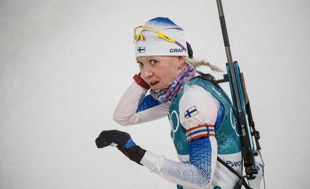 Kaisa Mäkäräinen ei ole urallaan toistaiseksi voittanut olympiamitalia.