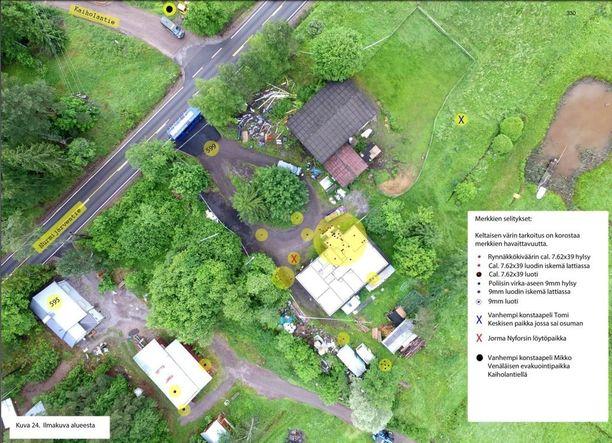 Poliisin esitutkintamateriaalin ilmakartasta näkyy mihin loukkaantunut poliisi vetäytyi loukkaantumisensa jälkeen.
