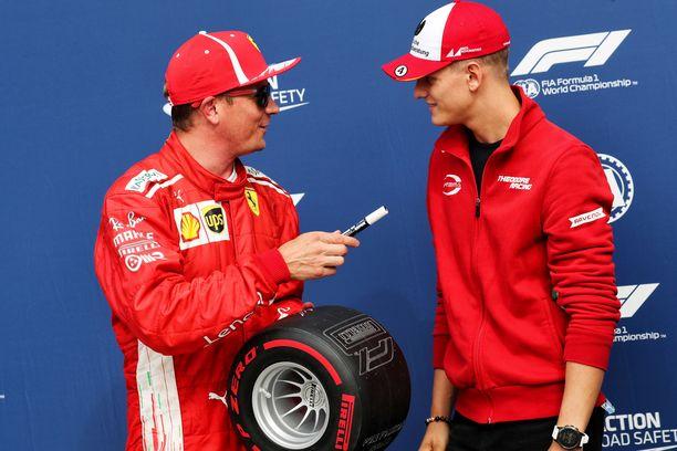 Kimi Räikkönen ja Mick Schumacher tapasivat Monzassa vuonna 2018.