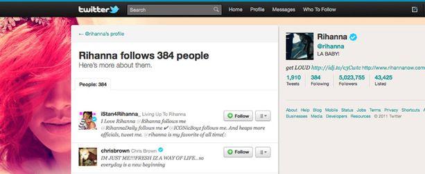 Rihanna alkoi seurata ex-poikaystäväänsä Twitterissä.