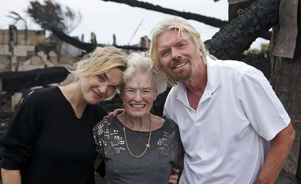 Filmitähti Kate Winslet oli saarella vieraana, kun siellä tapahtui tulipalo noin 10 vuotta sitten. Winslet auttoi Bransonin äidin tulelta suojaan.