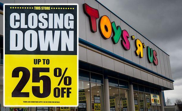 """Laput luukulle. Lelujätti Toys """"R"""" Us on ilmoittanut sulkevansa myymälänsä Yhdysvalloissa ja Britanniassa."""
