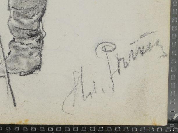 Vihon luonnoksista löytyy Ilja Repinin signeeraus.