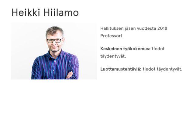 Heikki Hiilamon taustatietoja ei ole täydennetty vielä Helsingin Diakonissalaitoksen verkkosivuille.