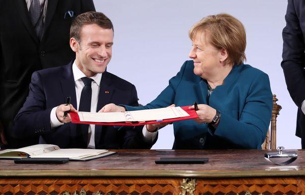 Emmanuel Macron ja Angela Merkel allekirjoittivat uuden ystävyyssopimuksen tänään Saksan Aachenissa.