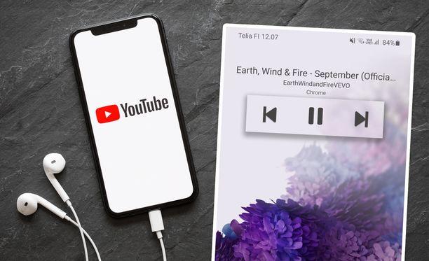 Musiikkia voi kuunnella Youtubesta näytön ollessa suljettuna.