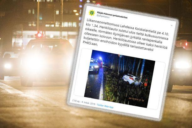 Onnettomuus tapahtui yöllä puoli kahden jälkeen.