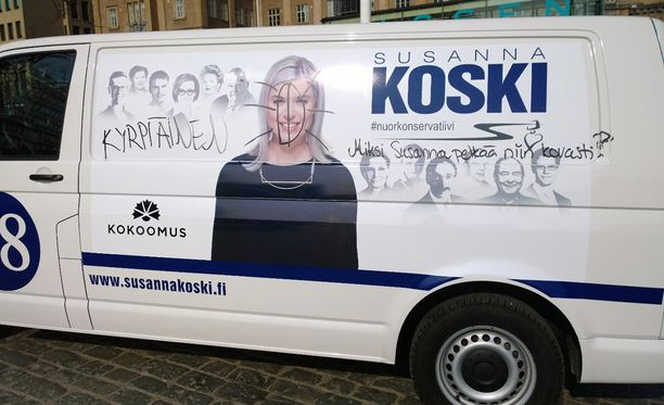 Susanna Kosken vaaliauto koki kovia.