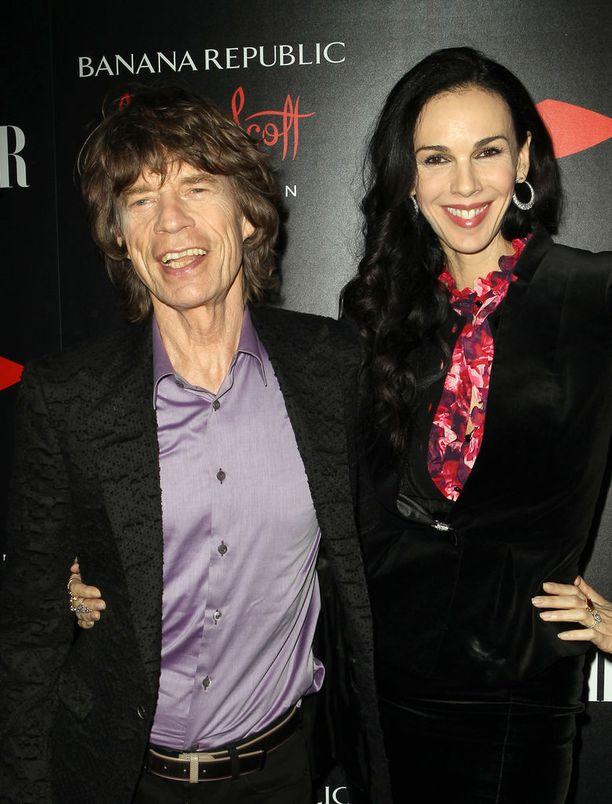 Mick Jagger ja LŽWren Scott yhdessä marraskuussa 2013. Neljä kuukautta kuvan ottamisen jälkeen Scott teki itsemurhan.