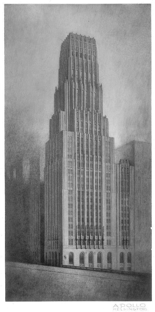 Saarisen julkisivuluonnos Chicago Tribune Tower -pilvenpiirtäjäksi on myös esillä Modernia elämää! -näyttelyssä.