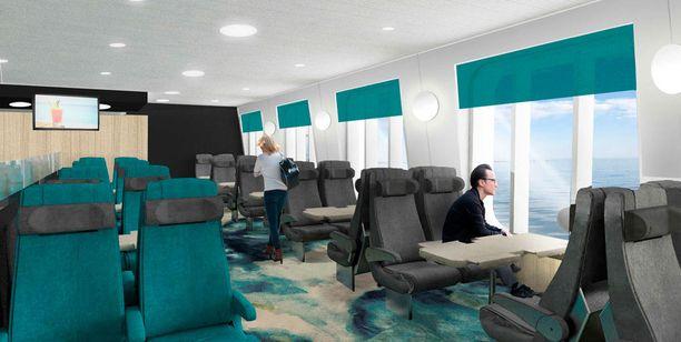 Uudessa sitting lounges -oleskelutilassa matka sujuu rauhallisesti.