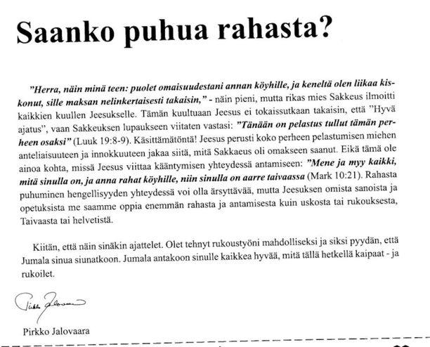 Rukousystävät-lehden ilmoitus vuodelta 2012.