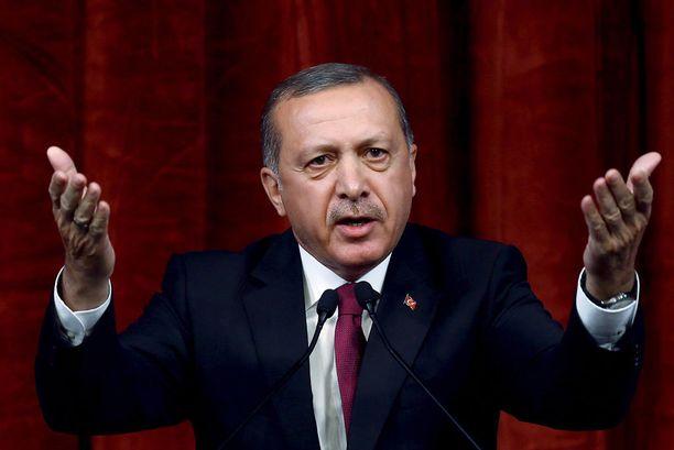 Presidentti Recet Tayyip Erdogan piti Ankarassa puheen perjantaina.