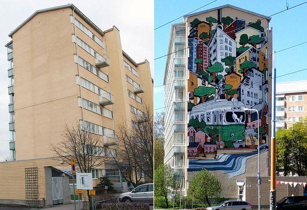 Helsingin Arabianrannan maalaus paljastettiin toukokuussa.