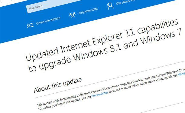 Microsoftin omat päivitystiedot vaikuttavat kertovan, että tietoturvapäivitykseen sisältyy mainosohjelma.