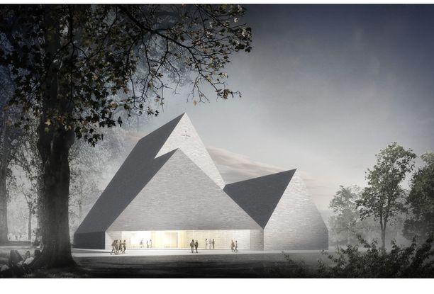 Havainnekuva näyttää suunnitellun uuden kirkon harmaan yleisilmeen.