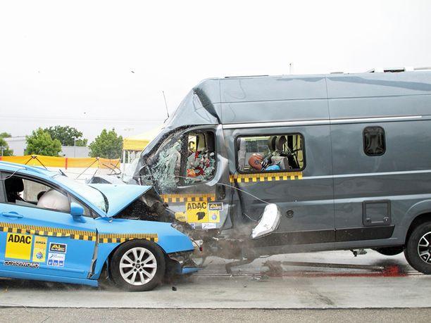 Raju törmäystesti. Autoliiton mukaan retkeilyauton kolaritesti oli todella raju, eikä törmäyksestä todennäköisesti selviäisi millään ajoneuvoilla vammoitta. Turhat vammautumisriskiä lisäävät tekijät olisi kuitenkin pystyttävä eliminoimaan jo ajoneuvon suunnittelu- ja valmistusvaiheessa. Autojen  nopeus oli törmäyshetkellä 56 kilometriä tunnissa ja retkeilyauton keulasta puolet osui henkilöauton keulaan.