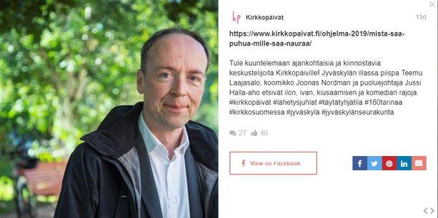 Perussuomalaisten puheenjohtaja Jussi Halla-aho osallistuu piispa Teemu Laajasalon vetämään keskusteluun Jyväskylän Kirkkopäivillä 18. toukokuuta.