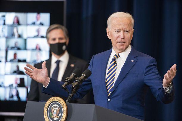 Joe Biden puhui torstaina ulkoministeriön henkilöstölle Yhdysvaltojen ulkopoliittisesta linjasta.