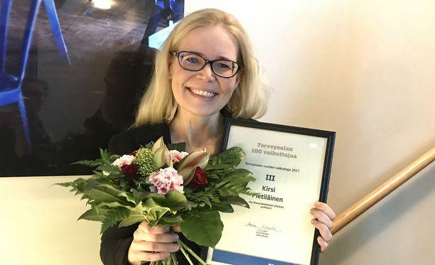 Kirsi Pietiläinen valittiin kolmannelle sijalle Mediuutisten Terveysalan 100 vaikuttajaa 2017 -listalla.