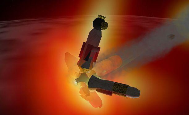 Taiteilijan näkemys siitä, miten Mir-avaruusasema syöksyi Maahan.
