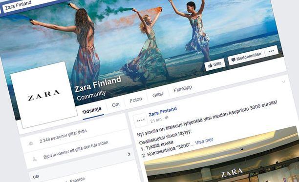 Huijaussivu on kopioinut aidon Zara-sivun ulkonäön, mutta sillä on vain yksi päivitys.