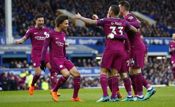 Manchester City juhli 3-1-voittoa Evertonin vieraana.