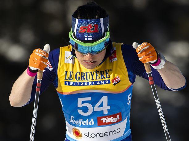 Krista Pärmäkoski hyytyi ulos podium-taistelusta.