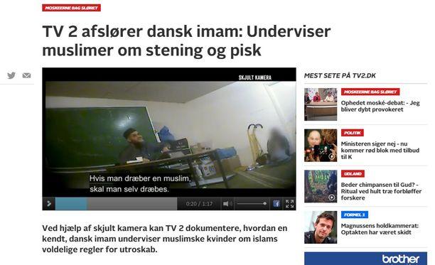 Tanskan TV2 kuvasi salaa Tanskan Aarhusissa sijaitsevan Grimhøjvejn moskeijan luentoja.
