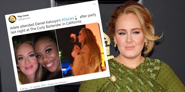 Adele juhli Oscar-gaalan jatkoilla pitkästä aikaa ihmisten ilmoilla.