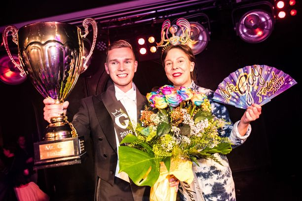Mr. Gay Finland Konsta Nupponen ja Miss Gay Finland Lotta Jäppinen.