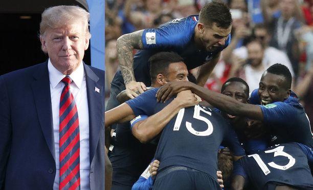 Donald Trump (vas.) seurasi Ranskan ja Kroatian välistä MM-finaalia.