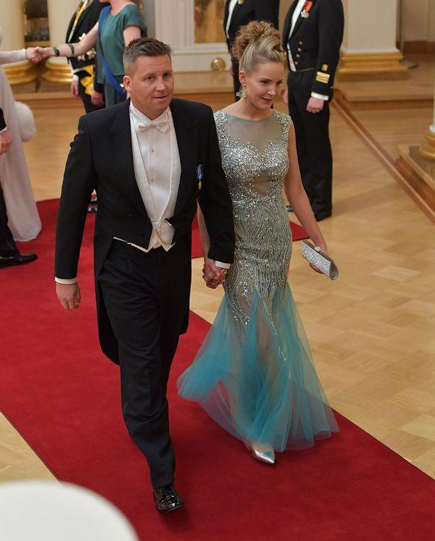 Jani Sievinen ja Maria Nyqvist saapuivat Linnaan hyväntuulisina.