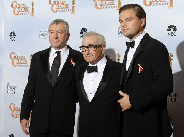 Robert De Niro, Martin Scorsese ja Leonardo DiCaprio edustivat Golden Globe gaalassa vuonna 2010.