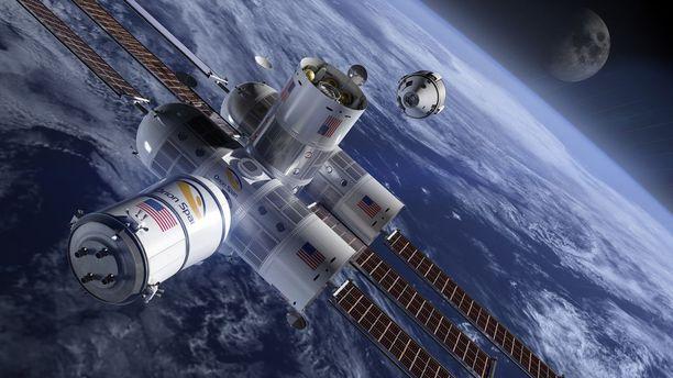 Havainnekuva Aurora Station -avaruushotellista.
