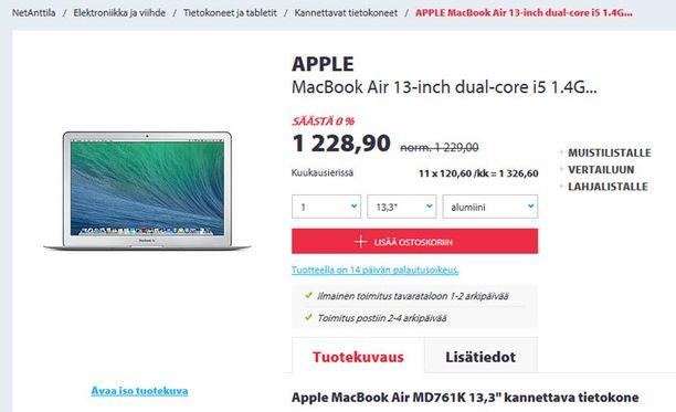 MacBook Airia tarjotaan 0 prosentin alessa.