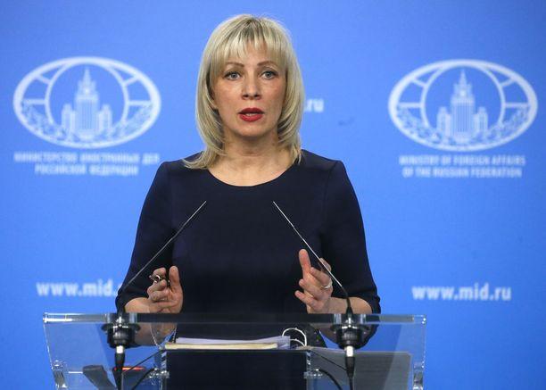 Venäjän ulkoministeriön tiedottaja Maria Zaharova viestii usein Venäjän kannan vaikeissa asioissa ulospäin.