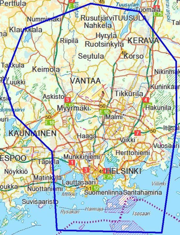Kartta 1: Viitteellinen lentokieltoalue.