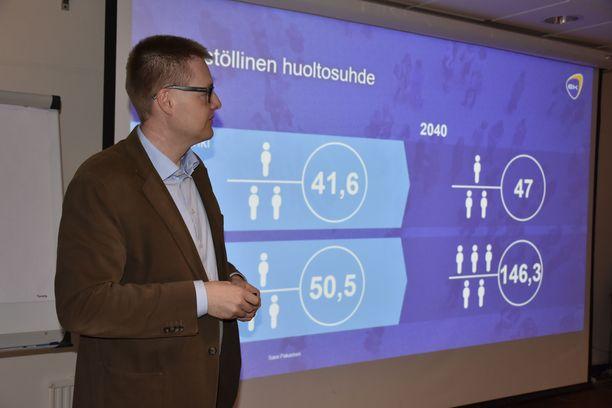 EK:n johtava ekonomisti  näyttää luvut siitä, millaiseksi väestöllinen huoltosuhde kehittyy Suomessa. Ylempänä näkyy Helsingin väestöllinen huoltosuhde vuosina 1990 ja 2040 (ennuste). Alemmalla rivillä näkyvät kainuulaisen pikkukunnan Hyrynsalmen vastaavat luvut.