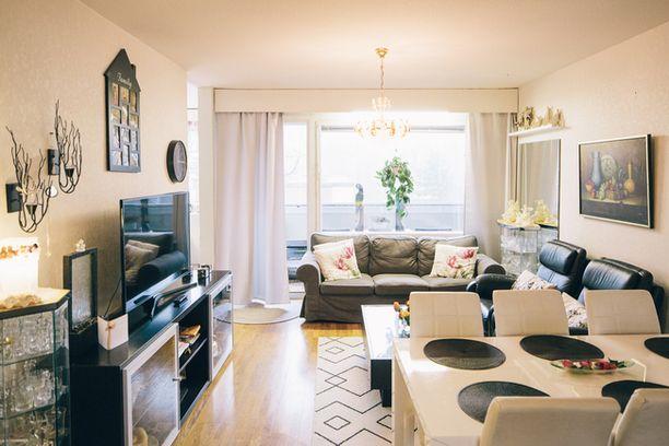 Helsinkiläisessä 89-neliöisessä perhekodissa on kaunis olohuone.