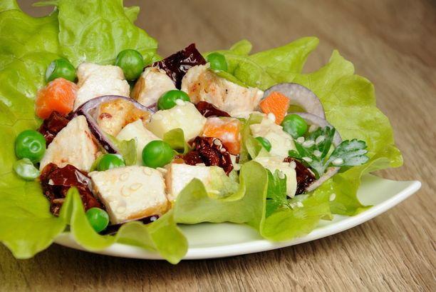 Nainen otti lautaselle kanan lisäksi salaattia. Mies ja kaksi lasta söivät eri ruokia. Kuvituskuva.